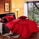 4PCS Red & Brown Print Cotton Duvet Cover Set