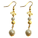 Handmade Golden Alloy Beads and Pearl Sweet Lolita Earrings