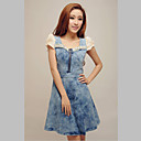 Women's Denim Zipped A-line Dress with Lace Sleeve