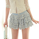 Frauen Layered Lace Crochet Shorts