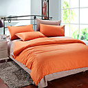 4PCS Orange & Khaki Print Cotton Duvet Cover Set