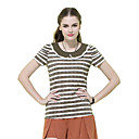 MYWELL Lace Baby Collar Stripes T Shirt