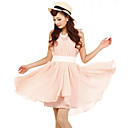BIOPLAZM Summer Korea Pink Ruffle Chiffon Sleeveless Fairy Dress