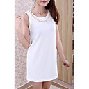 Women's Solid Color Beaded Neckline Dress
