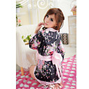 Flower Pattern Kimono Wide Belt Black Silk Nightwear