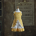 Ärmellose knielangen Yellow Cotton Kids Lolita Kleid