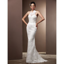Trumpet/Mermaid Halter Sweep/Brush Train Lace Wedding Dress