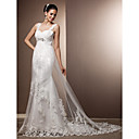 Sheath/Column Straps Court Train Tulle Wedding Dress