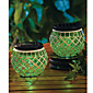 Vert Mosaque de verre solaire de jardin Patio Lumires Jar lampe solaire