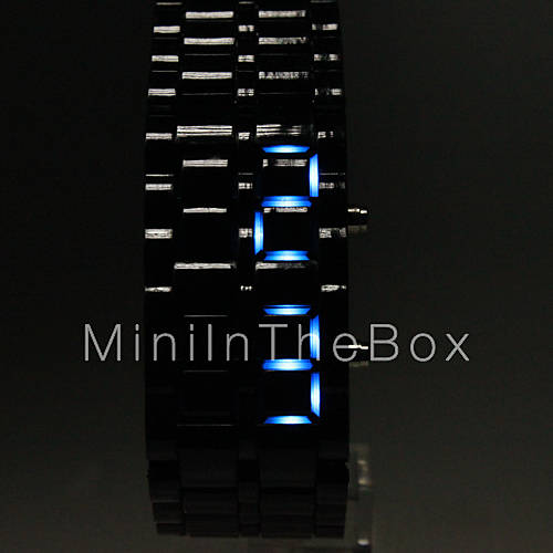 Cobra Edition Unisex Sports Blue LED Faceless Wrist Watch (Black)